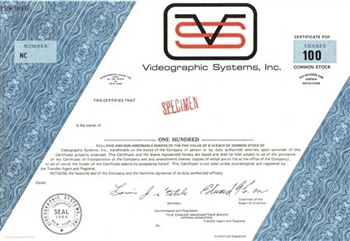 Videographics Systems, Inc. Specimen Stock Certificate