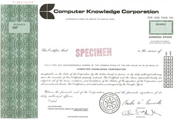 Computer Knowledge Corporation Specimen Stock Certificate - Green