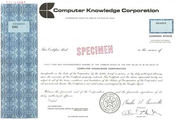 Computer Knowledge Corporation Specimen Stock Certificate - Blue