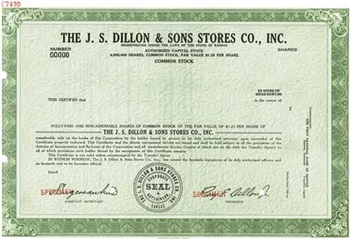 The J.S. Dillon & Sons Stores Co., Inc. Specimen Stock Certificate