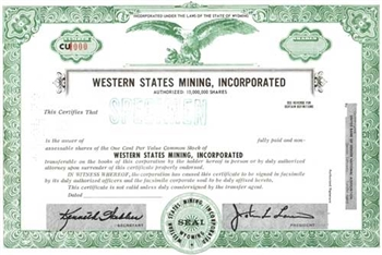 Western State Mining, Inc.  Specimen Stock Certificate - Green