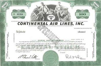 Continental Air Line, Inc. Specimen Stock Certificate