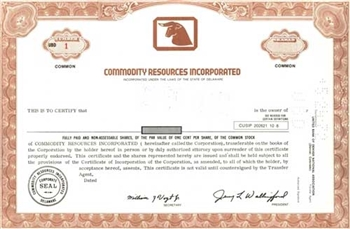 Commodity Resources Incorporated Specimen Stock Certificate