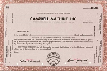 Campbell Machine, Inc. Specimen Stock Certificate