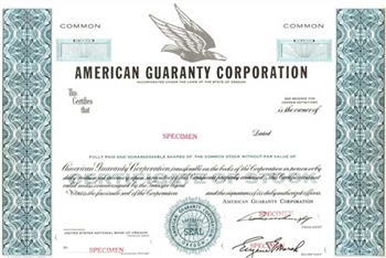 Americana Guaranty Corporation Specimen Stock Certificate