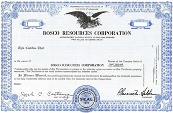 Bosco Resources Corporation Specimen Stock Certificate