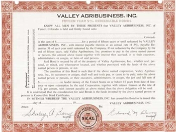Valley Agribusiness, Inc. Specimen Stock Certificate