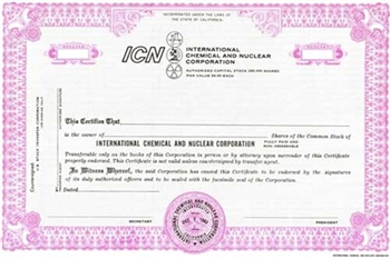 International Chemical and Nuclear Corporation Specimen Stock Certificate