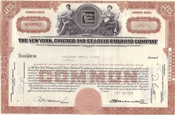 The New York, Chicago and St. Louis Railroad Company Stock Certificate
