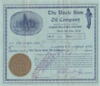 The Uncle Sam Oil Company Stock Certificate