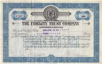 The Fidelity Trust Company Stock Certificate