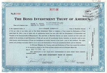 The Bond Investment Trust of America Stock Certificate