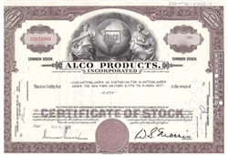 ALCO Products, Inc. Stock Certificate