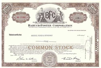 Baruch-Foster Corporation Stock Certificate