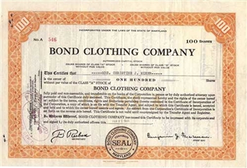 Bond Clothing Company Stock Certificate