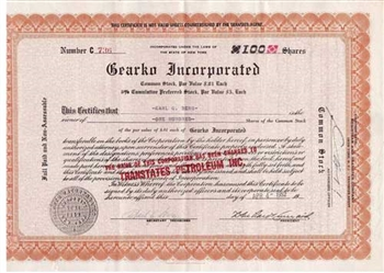 Gearko Inc. Preferred Stock Certficate