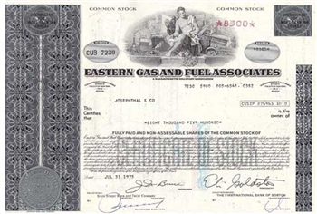 Eastern Gas and Fuel Associates Stock - Blue