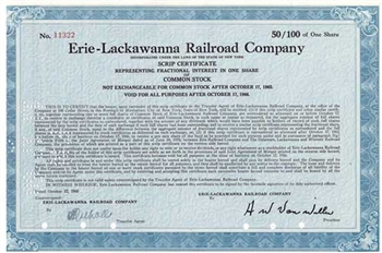 Erie-Lackawanna Railroad Company Stock Certificate