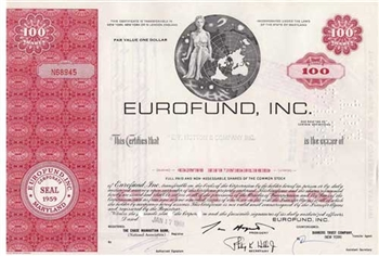 Eurofund, Inc. Stock Certificate - Red