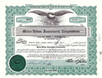Metro-Urban Investment Company Stock Certificate