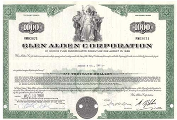 Glen Alden Corporation Bond