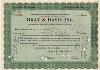 Gray & Davis Inc. Temporary Certificate
