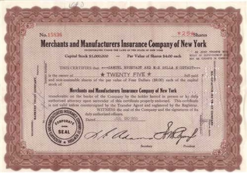 Merchants & Manufacturers Insurance Co of New York