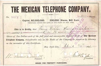 The Mexican Telephone Company Stock Certificate