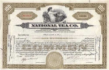 National Tea Co Stock Certificate