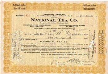 National Tea Co Preferred Stock Certificate