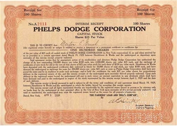 Phelps Dodge Corporation Stock Certificate