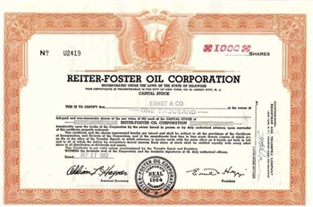 Reiter-Foster Oil Corporation Stock Certificate