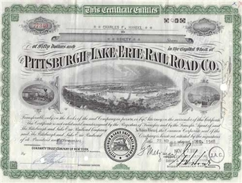 Pittsburgh and Lake Erie Railroad Company Stock Certificate