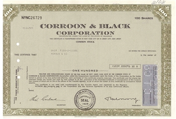 Corroon & Black Corp Stock Certificate - Olive