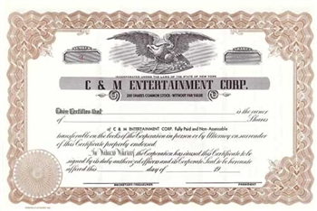 C&M Entertainment Corp. Stock Certificate