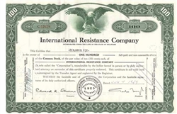 International Resistance Company Stock Certificate