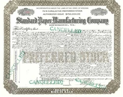 Standard Paper Manufacturing Company Stock Certificate
