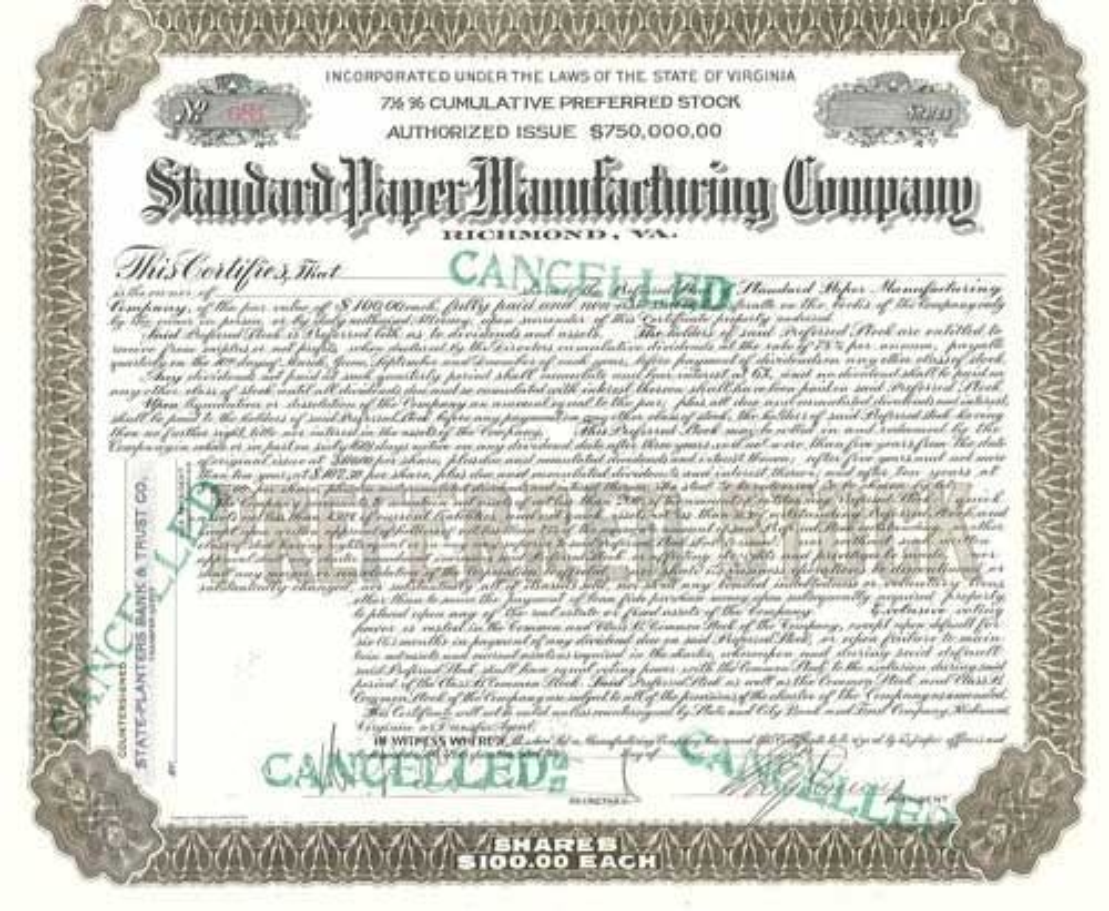 Standard Paper Manufacturing Company Stock Certificate