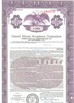 General Motors Acceptance Corp Bond Certificate