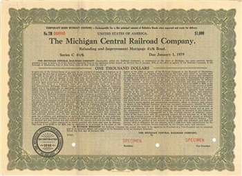 Michigan Central Railroad Company Bond - Green Specimen
