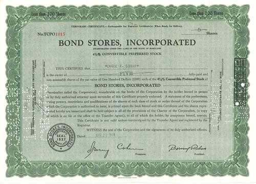 Bond Stores Inc Preferred Stock