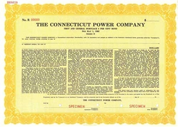 The Connectitcut Power Company Specimen bond