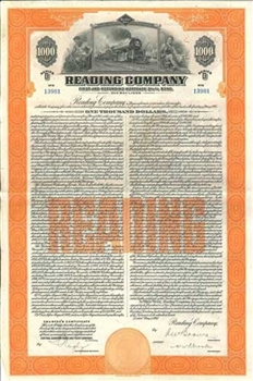 Reading Railroad Company Bond Certificate