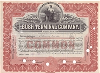 Bush Terminal Company Stock Certificate - Red