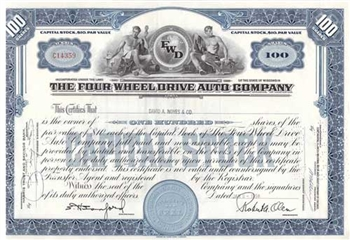 The Four Wheel Drive Auto Co. Stock Certificate