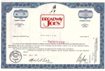 Broadway Joes Stock Certificate - Blue