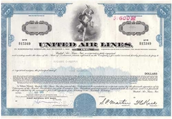 United Airlines Bond Certificate - Blue