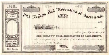 Odd Fellow Hall Association of Sacramento Stock Certificate