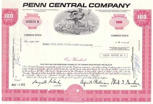 Penn Central Company Stock Certificate Pink