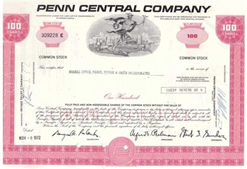 Penn Central Company Stock Certificate - Pink